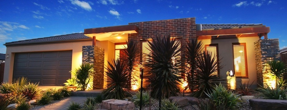 Dusk shot of a contemporary new home facade in Melbourne Australia